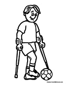 Student with Crutches Playing Sports