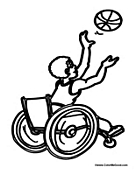 Boy in Wheelchair Playing Basketball