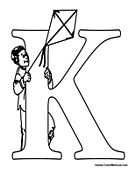 Alphabet Coloring - K is for Kite