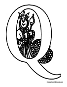 Alphabet Coloring - Q is for Queen