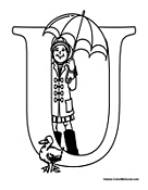 Alphabet Coloring - U is for Umbrella