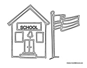 School with Flag Pole