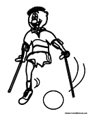 Boy with Crutches Plays Soccer