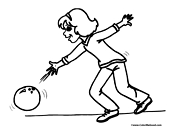 Girl Bowling Coloring Page 9