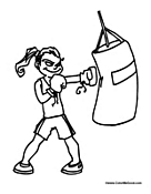 Girl Boxing Punching Bag