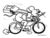 Mouse Bike Coloring Page