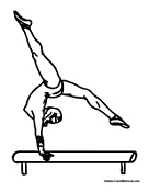 Girl Gymnast on Balance Beam