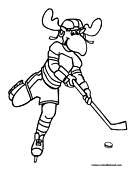 Moose Hockey Coloring Page