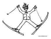 Skiing Coloring Page 1