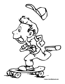 Skateboarding Coloring Page 1