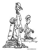 Skateboarder Coloring Page 12