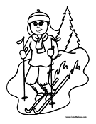 Girl on Skis Coloring Page