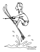 Water Skiing Coloring Page 1