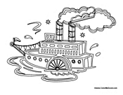 steamboat coloring pages | Boats Coloring Pages
