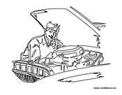 Race car coloring page mechanic cartoon pictures for Mechanic coloring pages