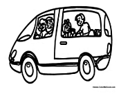 Family Mini Van Coloring Page
